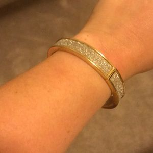 Clip on silver sparkly wrapped in gold bracelet